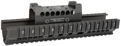 MI-AKX-LD-BLK<br>Extended Universal AK47/74 Handguard With -LD Optic Specific Topcover-Black